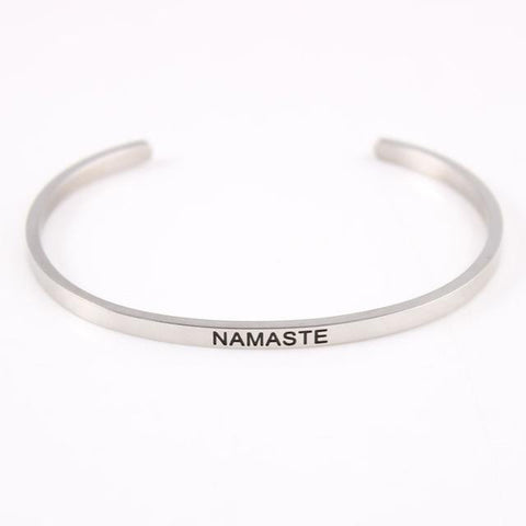 NAMASTE || Inspirational Quote Jewelry || Cuff Mantra Bracelet Bangle || Gifts for Her - Alora Boutique - Jewelry with meaning that gives back fashion for good
