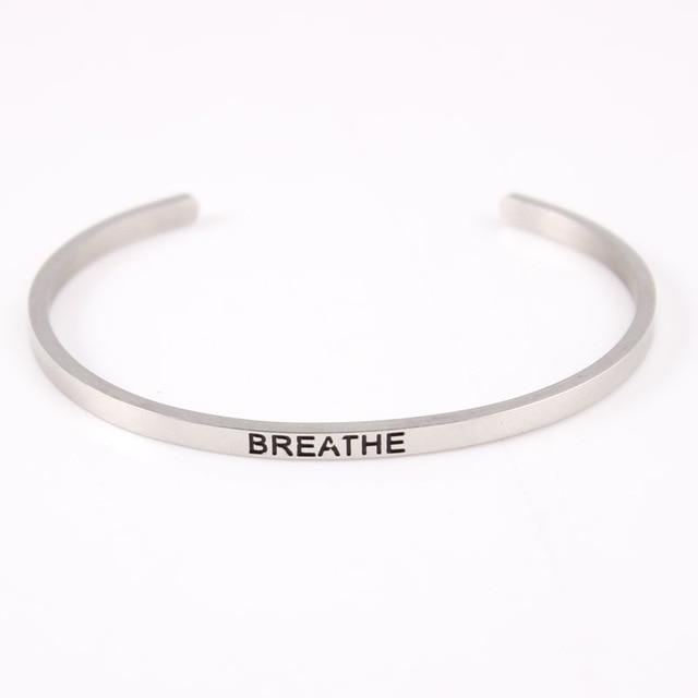 BREATHE || Inspirational Quote Jewelry || Cuff Mantra Bracelet Bangle || Gifts for Her - Alora Boutique - Jewelry with meaning that gives back fashion for good