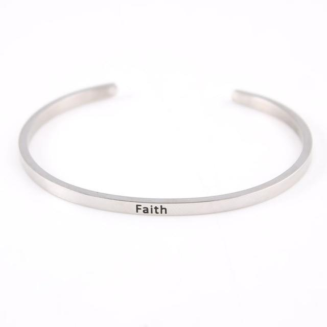 FAITH || Inspirational Quote Jewelry || Cuff Mantra Bracelet Bangle || Gifts for Her - Alora Boutique - Jewelry with meaning that gives back fashion for good
