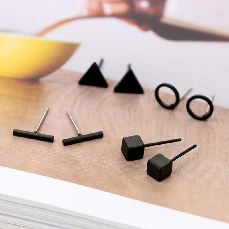 Lia - Minimalist Stud Earring Set Earrings Alora Boutique Black