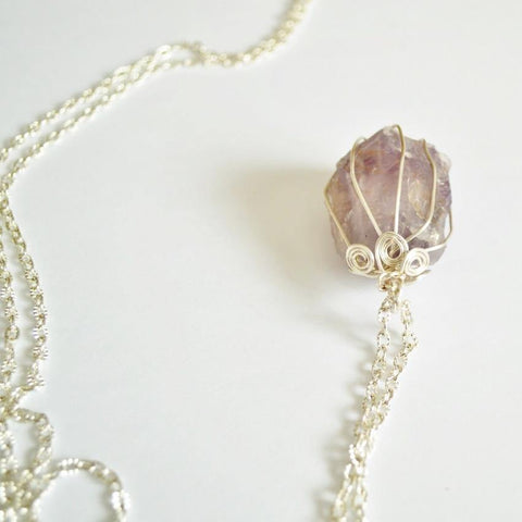 Raw Amethyst Flower Wrap Gemstone Necklace | Gold and Silver | Raw Amethyst - Alora Boutique