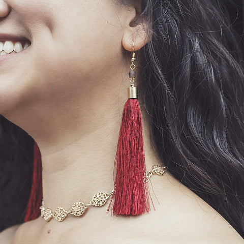 Shantel | Fringe Dangle Earrings | Crimson - Alora Boutique