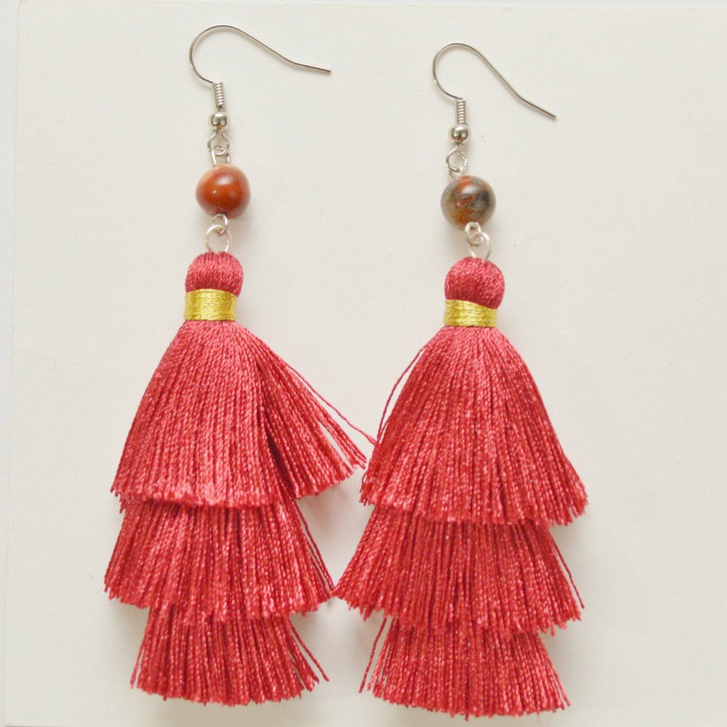 "Empower Fringe Earrings | Red ""Cherry Tomato"" Jasper"