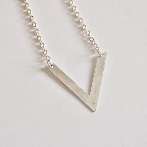 Be Your Own Kind of Beautiful | V Chevron Necklace | Silver - Alora Boutique