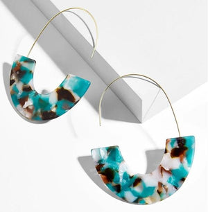 Janya Statement Resin Hook Earrings - Marbled Blue - Alora Boutique - Jewelry with meaning that gives back fashion for good