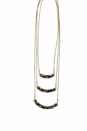 Emilyn Layered Resin Necklace - Brown - Alora Boutique - Jewelry with meaning that gives back fashion for good