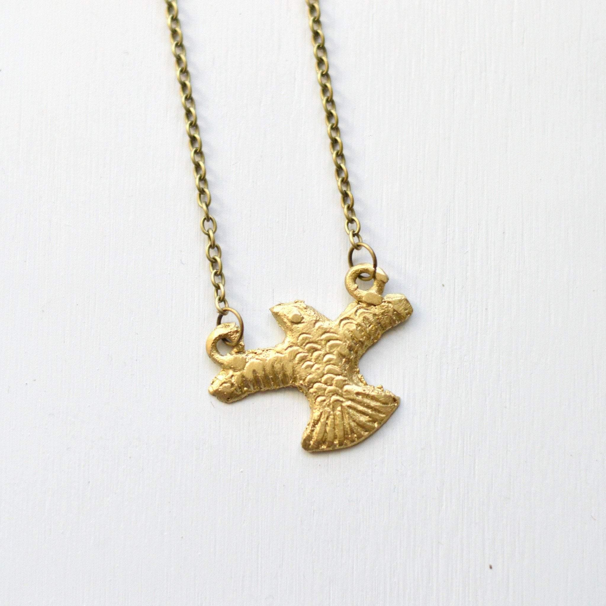 chain two steel plated in gold tone eagle and pendant stainless ion