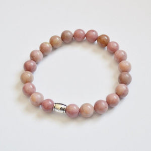 Bravery, Compassion and Forgiveness | Beaded Stretch Bracelet | Rhodonite Gemstone Bracelets Alora