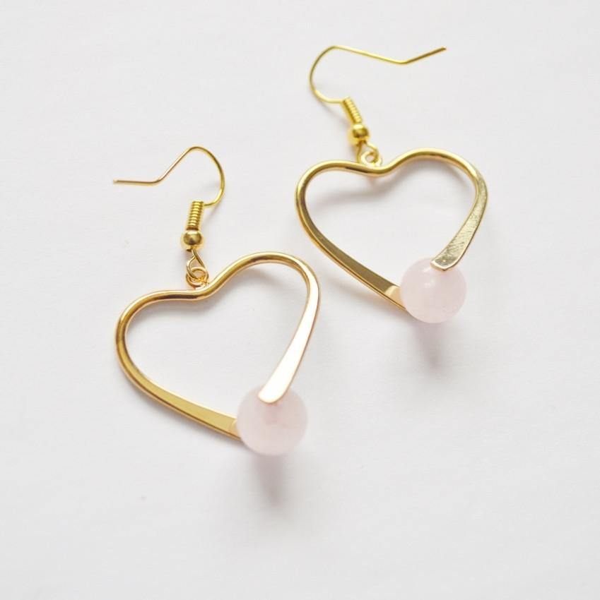 Rose Quartz Healing Gemstone Earrings | 14k Gold | Heart