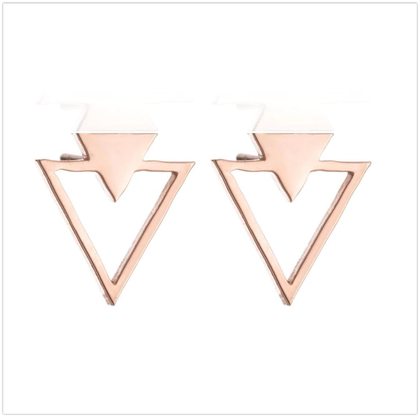Double Mountain Stud Earrings Earrings Alora Boutique Rose Gold