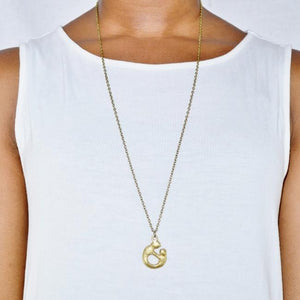 Mother and Child Pendant Necklace | Recycled Brass Necklaces Alora Boutique