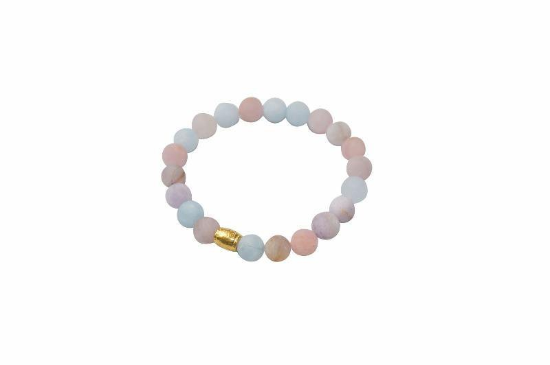 Sanai Beaded Morganite Gemstone Bracelet - Pink - Alora Boutique - Jewelry with meaning that gives back fashion for good
