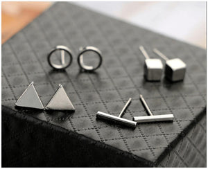 Lia - Minimalist Stud Earring Set Earrings Alora Boutique Silver
