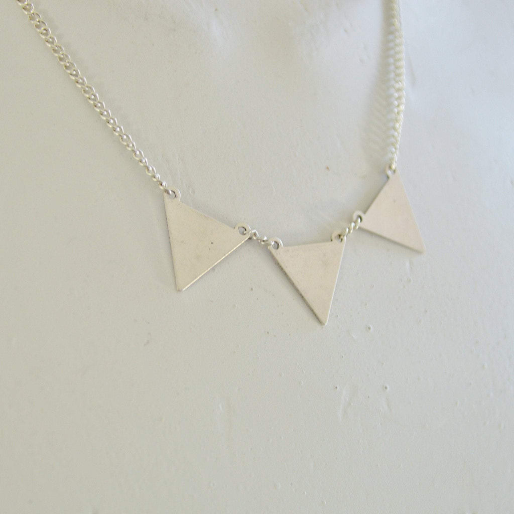 Kìrà Geometric Triangle Necklace | Silver - Alora Boutique  - 1