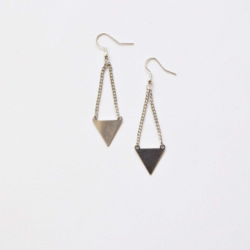 Kìrà Geometric Triangle Earrings | Silver Plated - Alora Boutique  - 1
