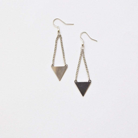Be Your Own Kind Of Beautiful | Geometric Triangle Dangle Earrings | Silver Plated - Alora Boutique