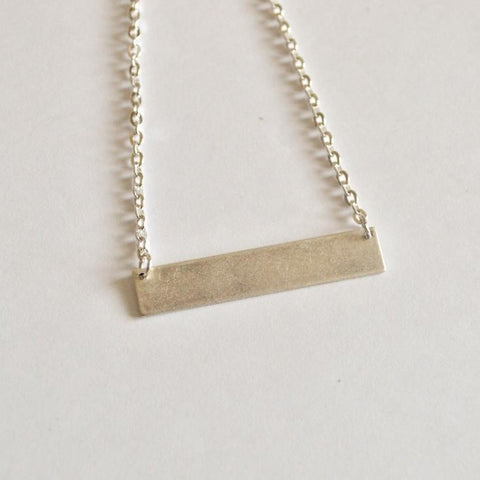 Balance | Thick Horizontal Bar Necklace | Silver - Alora Boutique