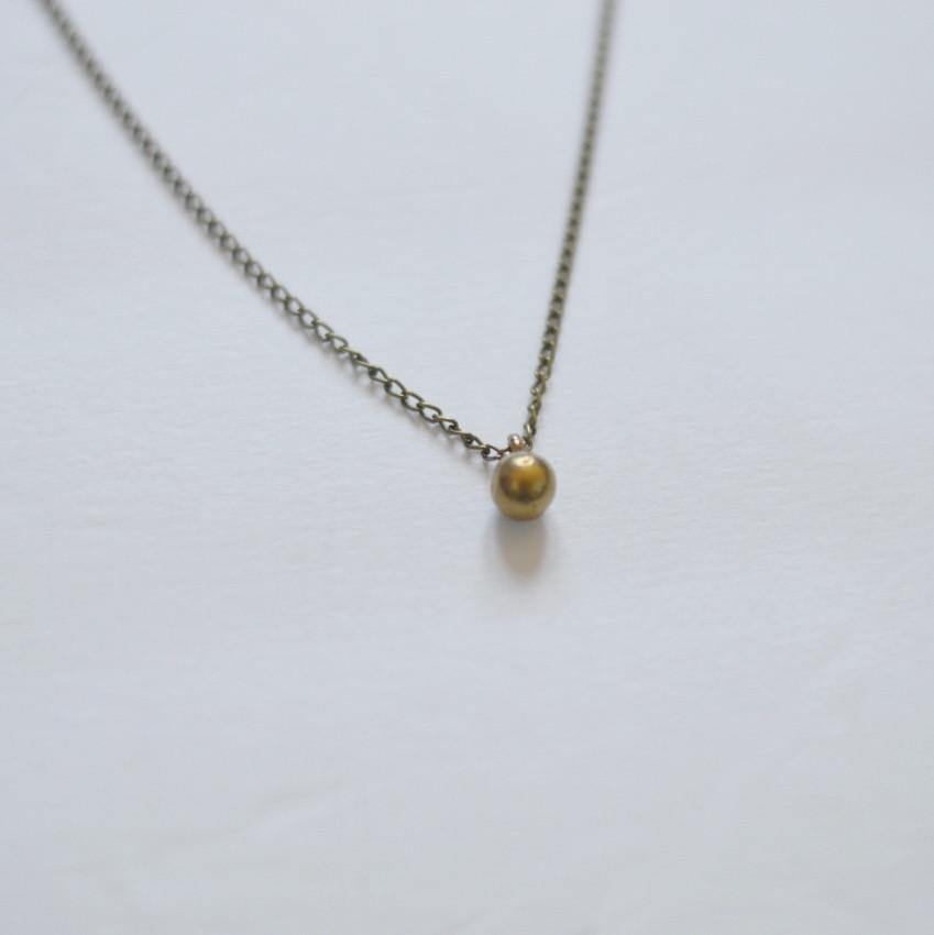 Circle of Life Simple Sphere Necklace - Recycled Brass - Alora Boutique  - 1