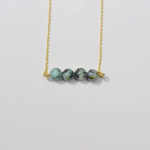 African Turquoise Horizontal Bar Necklace {Stick Necklace} | Simple Elegance - Alora Boutique  - 1