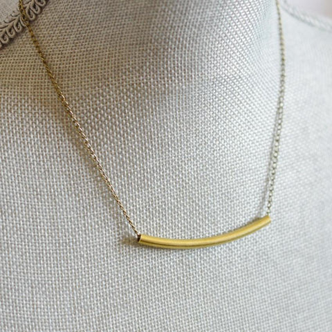 Balance | Delicate Crescent Bar Necklace | Brass - Alora Boutique
