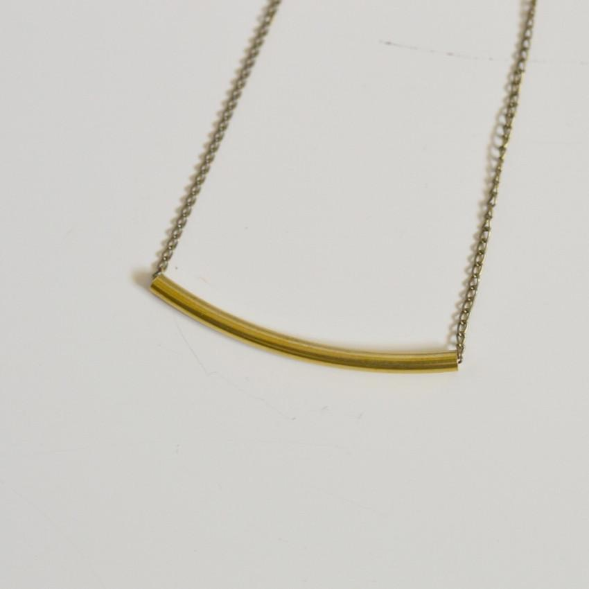 Balance | Delicate Crescent Bar Necklace | Brass Necklaces Alora