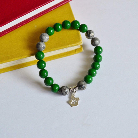 "I am ""Proud, ambitious and cunning"" Gemstone Bracelet - Green and Silver"