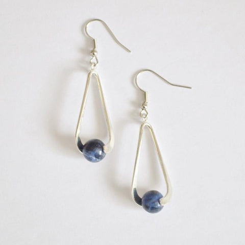 Sodalite (Blue) Upward Spiral Gemstone Earrings | 14K Gold or Silver Plated - Alora Boutique  - 1