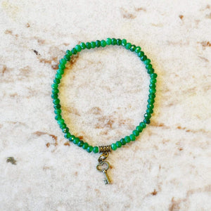 Sparkle Gemstone Beaded Stretch Bracelet | Green Agate | Diane Collection bracelets Alora Boutique