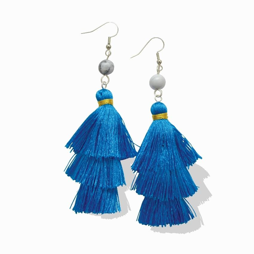 "Empower Fringe Earrings | Blue ""Sky"" Howlite"