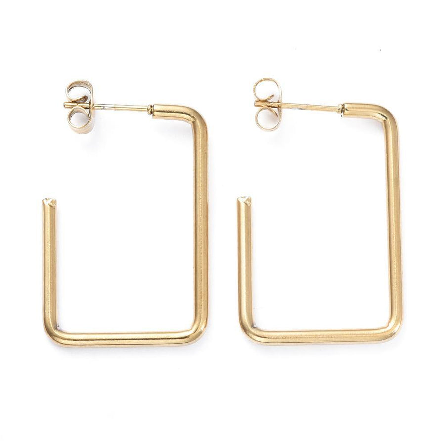 Veena Drop Hoop Earring - Square - Alora Boutique