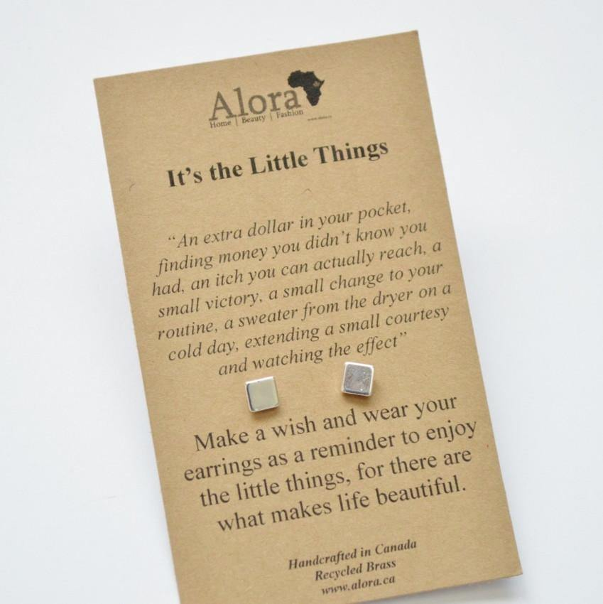 Square Stud Earrings | Silver - Alora Boutique