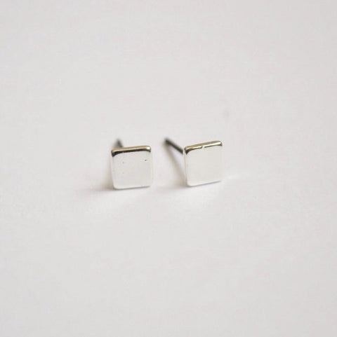 Square Stud Earrings - Silver - Alora Boutique  - 1