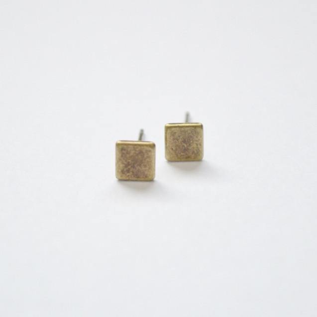 Square Stud Earrings - Brass - Alora Boutique  - 1