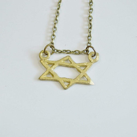 Mind, Body, and Soul | Star of David Symbol Necklace | Recycled Brass - Alora Boutique