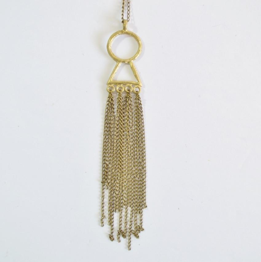 Amani | Fringe Statement Necklace | Recycled Brass