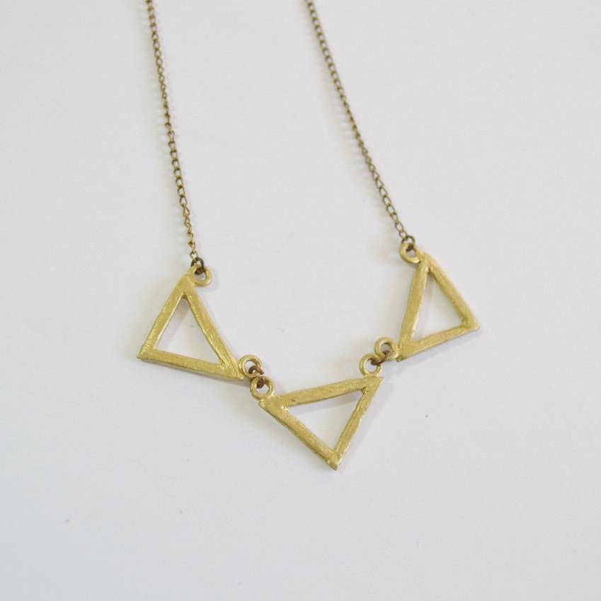 Resilience Three Deltas Necklace Recycled Brass Alora Boutique