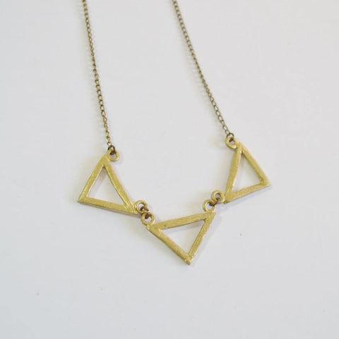Resilience | Three Deltas Necklace | Recycled Brass - Alora Boutique - Jewelry with meaning that gives back fashion for good