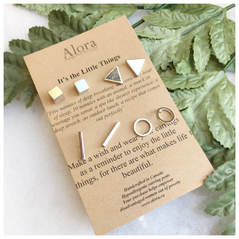Lia -  Minimalist Stud Earring Set - True Beauty