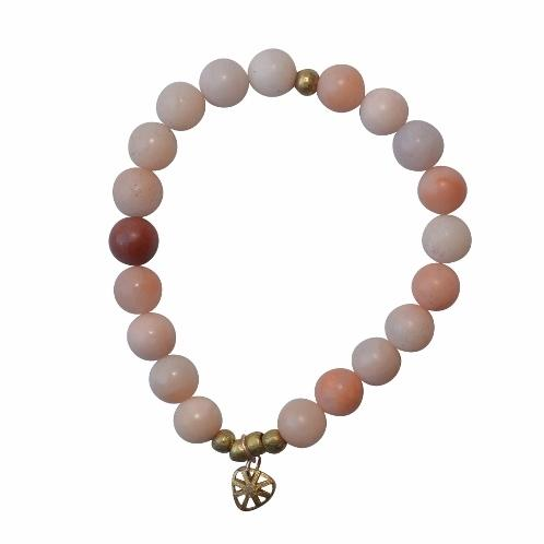 Olive Gemstone Bracelet - Calm and Discipline - Tangerine (Orange Aventurine) - Alora Boutique - Jewelry with meaning that gives back fashion for good