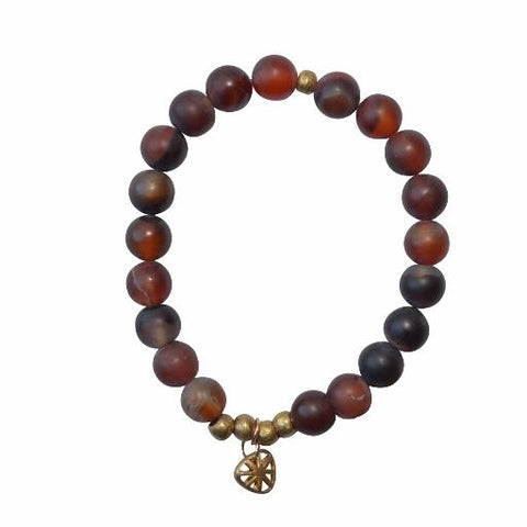 Olive Gemstone Bracelet - Balance and Harmony - Wine (Red Agate) - Alora Boutique - Jewelry with meaning that gives back fashion for good