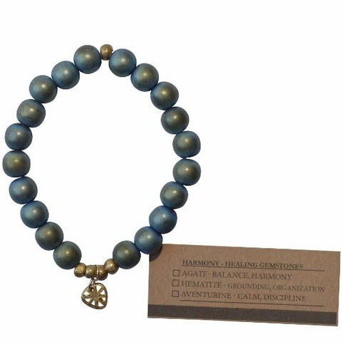 Olive Gemstone Bracelet - Grounding and Organization - Teal (Blue Hematite) - Alora Boutique - Jewelry with meaning that gives back fashion for good
