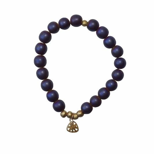 Olive Gemstone Bracelet - Grounding and Organization - Violet (Purple Hematite)
