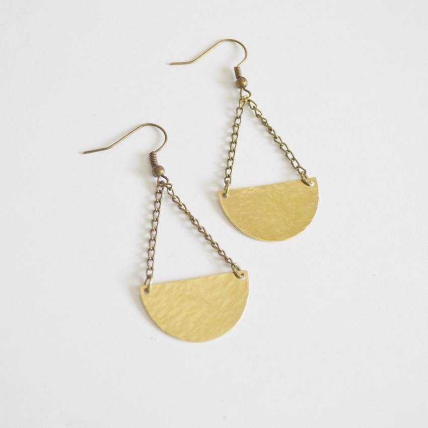 Half Moon Dangle Earrings | Raw Brass - Alora Boutique - Jewelry with meaning that gives back fashion for good