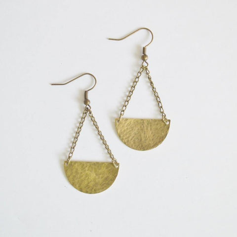 Half Moon Dangle Earrings | Raw Brass - Alora Boutique