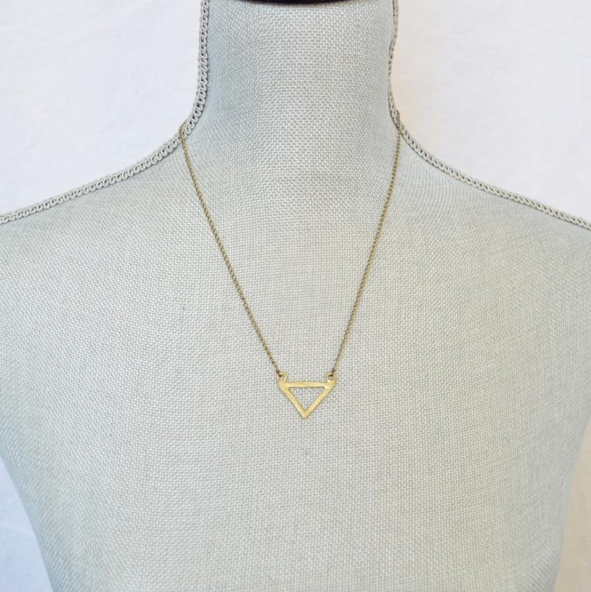 Resilience | Small Delta Pendant Necklace | Recycled Brass Necklaces Alora Boutique