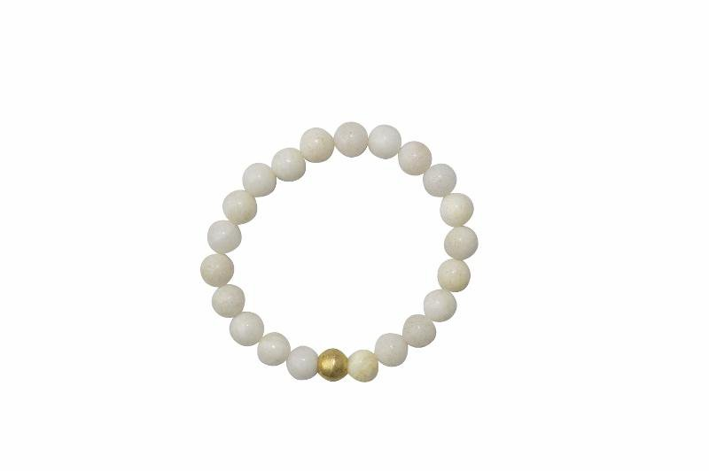 Sanai Beaded Aventurine Gemstone Bracelet - Cream - Alora Boutique - Jewelry with meaning that gives back fashion for good