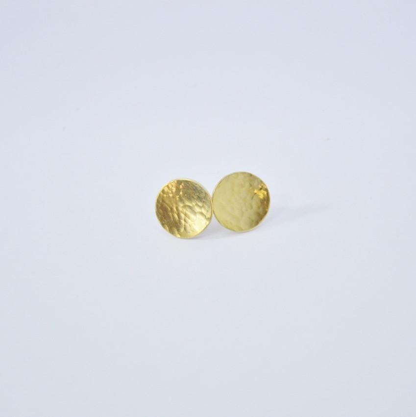 Hammered Brass Stud Earrings |  It's The Little Things