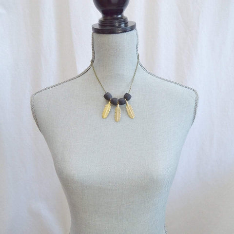 Dare to be a Free Spirit Feather Statement Necklace | Black - Alora Boutique  - 1