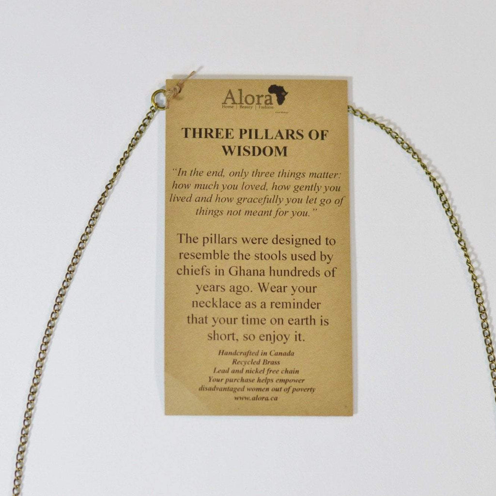 Three Pillars of Wisdom | Recycled Brass Necklace - Alora Boutique