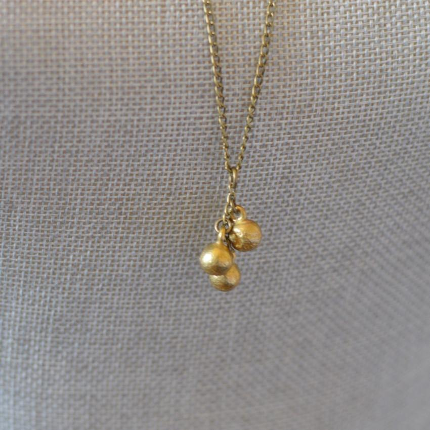 Circle of Life | Delicate Three Spheres Pendant Necklace | Recycled Brass - Alora Boutique - Jewelry with meaning that gives back fashion for good